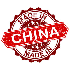 made in China red stamp isolated on white background