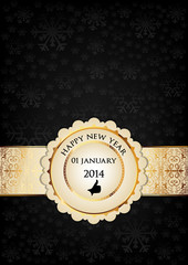 Happy new year card. Decorated with golden badge and label.