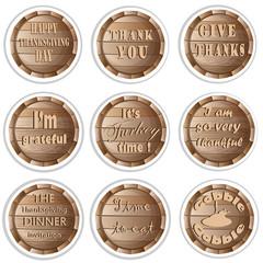 Thanksgiving Frame Barrel Stickers Set Pattern