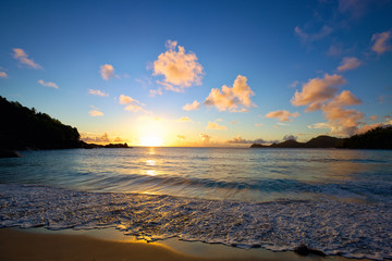 Anse Takamaka beach at sunset, Mahe Island, Seyshelles