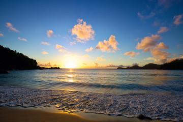 Anse Takamaka beach at sunset, Mahe Island, Seyshelles