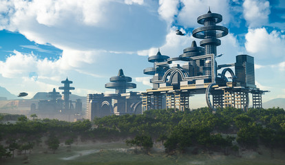 aerial view of Futuristic City with flying spaceships
