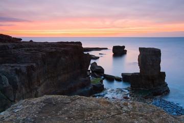 Rocky coast in Portland Bill, Dorset, UK.