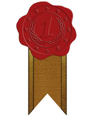 Vector First Place Red Wax Seal with Ribbon