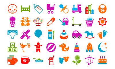Baby toy icons buttons vector set