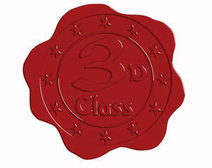 Vector Third Class Red Wax Seal