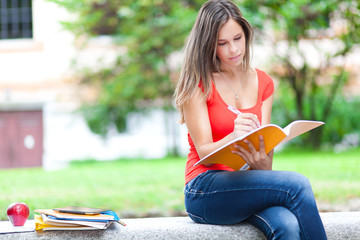 Female student studying at the park