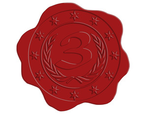 Vector Third Place Red Wax Seal