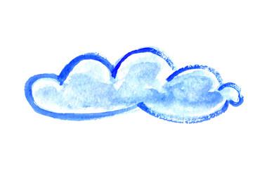 Watercolor cloud, vector illustration