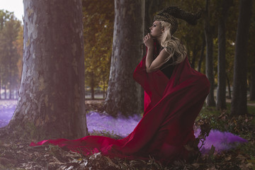 love, beautiful blonde warrior with golden helmet and red cape i