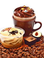 chocolate sweets, muffins and coffee beans