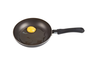 raw egg in a frying pan isolated on white background
