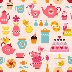 Tea with love pattern