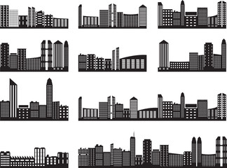 City landscapes illustrated on white