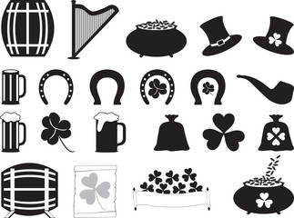 Saint Patrick objects illustrated on white