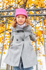 Autumn portrait of adorable little girl