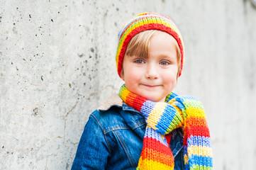 Outdoor portrait of adorable toddler boy