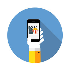 Flat Design Concept Cinema Icon Vector Illustration With Long Sh