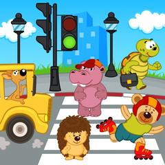 animals go across crosswalk - vector illustration, eps