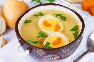 Chicken broth, boiled eggs
