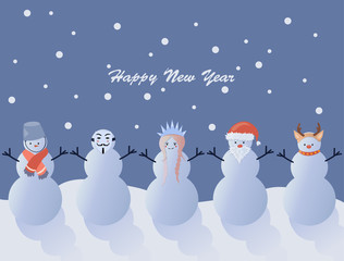 Five funny snowmen with New Year