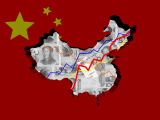 China map with flag and graphs on Yuan illustration