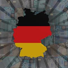 Germany map flag on euros sunburst illustration