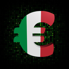 Euro symbol with Italian flag on hex code illustration