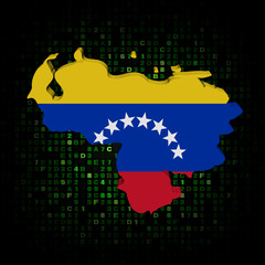 Venezuela map flag on hex code illustration