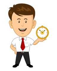 Cartoon office worker holding a clock