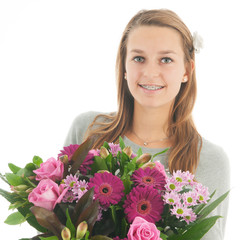 Teen with flowers
