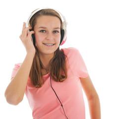 Teen girl with head phones