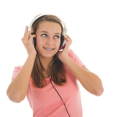 Teen girl with head phones