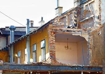 Damaged old house
