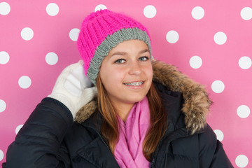 Portrait teen girl in winter