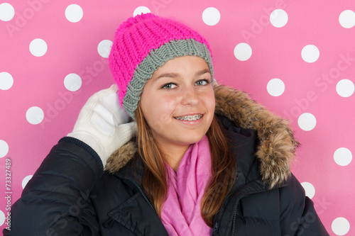canvas print picture Portrait teen girl in winter