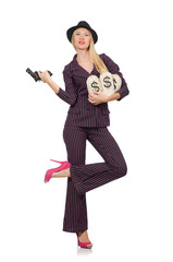 Woman gangster with gun in vintage concept