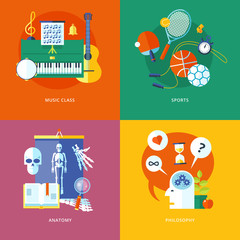 Set of flat design concept icons for school and education.