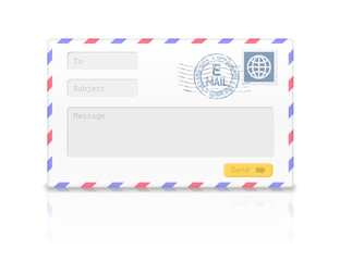 Email envelope isolated on white background.