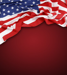 American flag on red