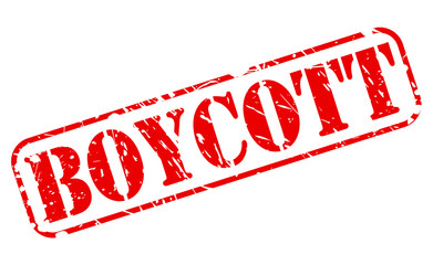 Boycott red stamp text