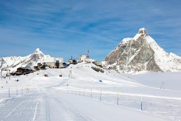 Plateau Rosa in Cervinia ski resort: the highest skiable slope i