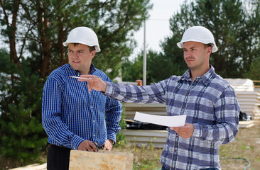 Engineers on a building site