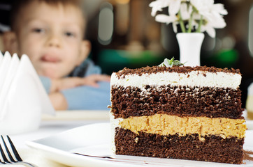 Delicious slice of layered birthday cake