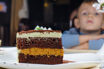 Huge slice of delicious layered cake