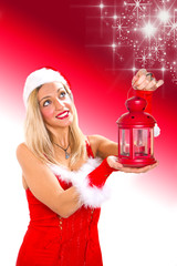 christmas girl with red lantern