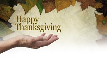 Happy Thanksgiving Parchment Autumn Leaves banner
