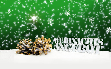 pinecone Merry Christmas green