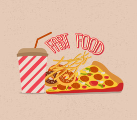 set of fast food with Pizza