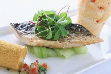 smoked mackerel plated starter